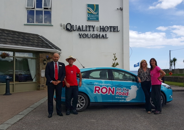 Heart Transplant recipient of 17 years, Ron Cummins,  at the Quality Hotel in Youghal, on his attempt to walk Ireland's Coastline of 2,500 km to raise donor awareness and funds for the Irish Heart & Lung Transplant Association. Left to Right. Miro Jezovica, QHY. Ron Cummins. Therese Donnelly QHY and Carol Brennan